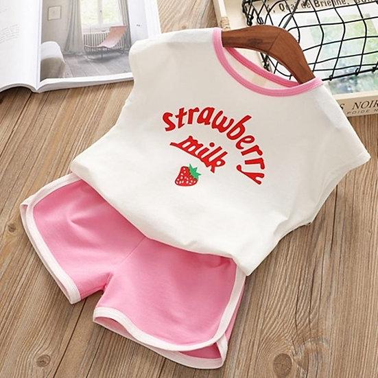 Strawberry Milk Shorts Set