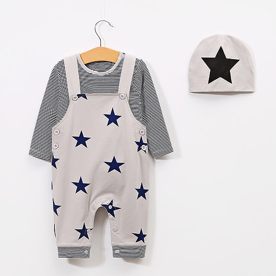 Star Dungarees Outfit Set