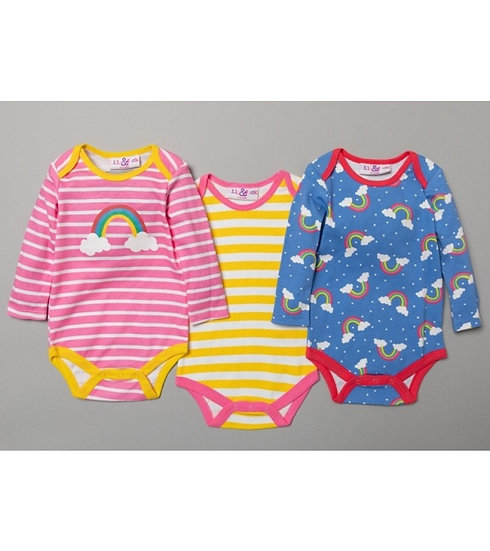 Lily & Jack Set of 3 Rainbow Bodysuits