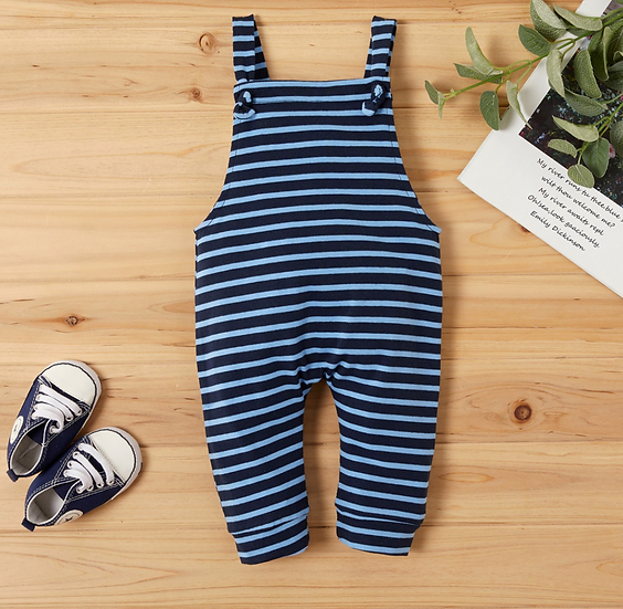 Blue Double Stripe Romper
