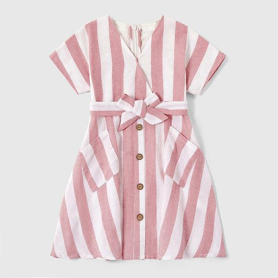 Pastel Pink Stripe Cotton Dress
