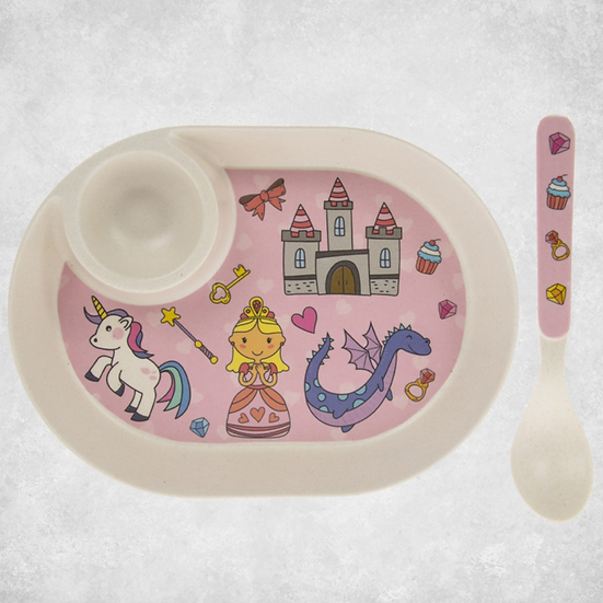 Bamboo Pink Fairy Egg Plate & Spoon