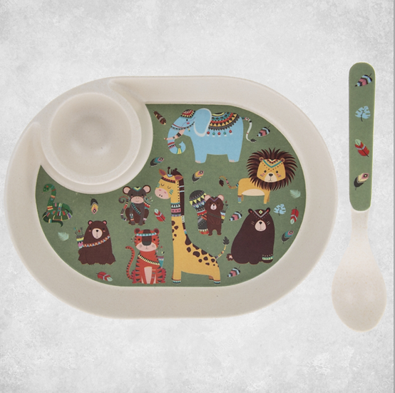 Bamboo Jungle Animals Egg Plate & Spoon
