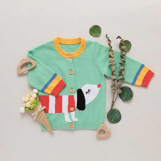Dog Knitted Colour Block Cardigan