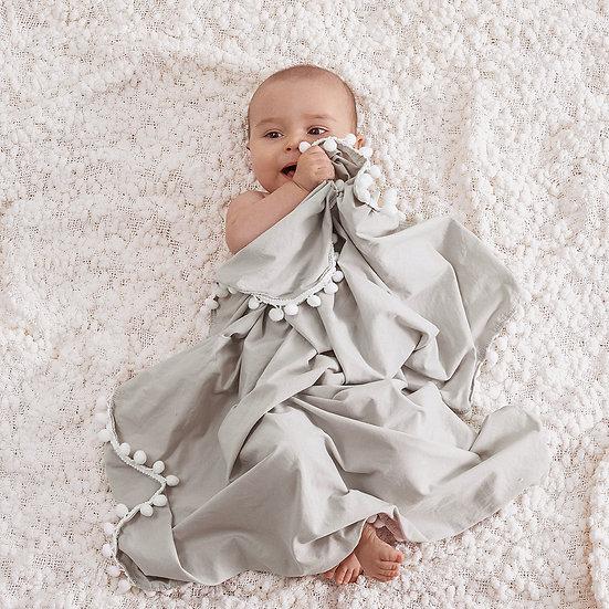 Pom Pom Muslin Blanket