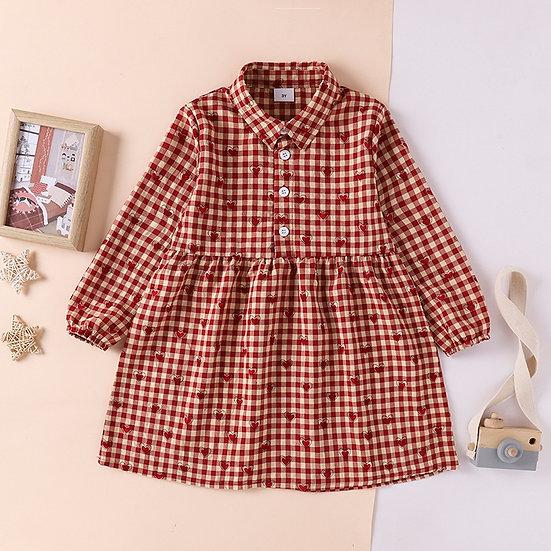 Plaid Red Heart Print Dress