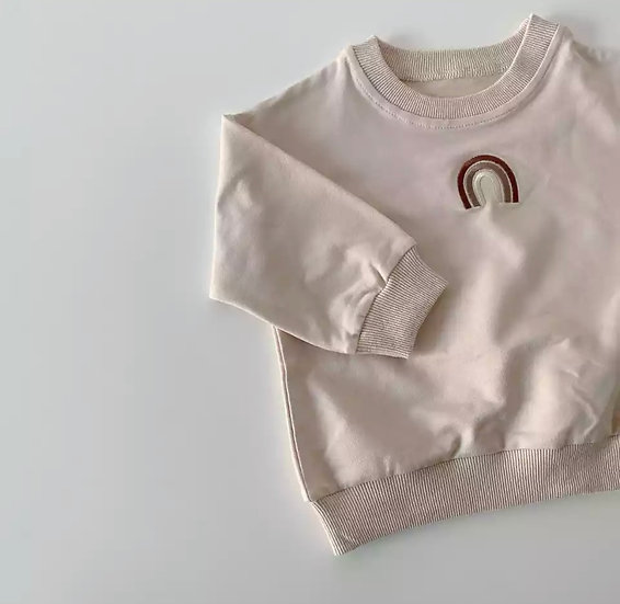 Beige Embroidered Rainbow Sweatshirt