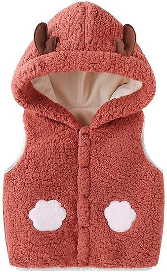 Fluffy Rust Sleeveless Coat