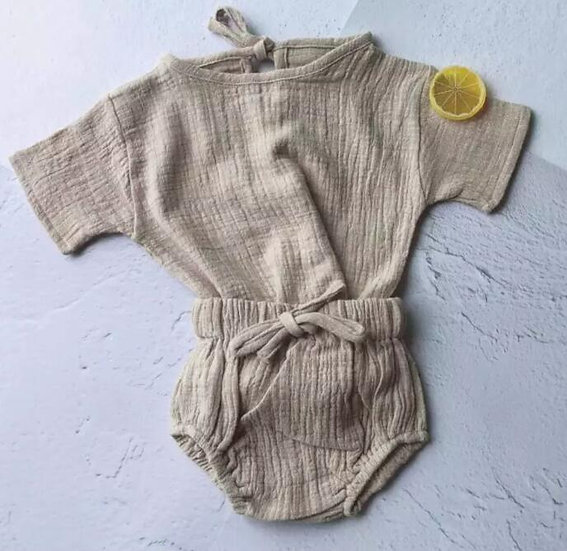 Beige Linen Summer Set