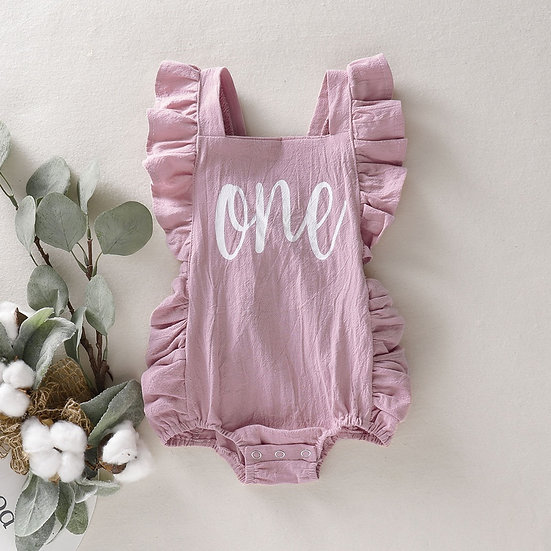 Pink 'One' Birthday Romper