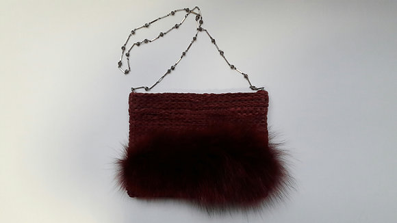 Handtasche aus Leder/Fuchsfell weinrot