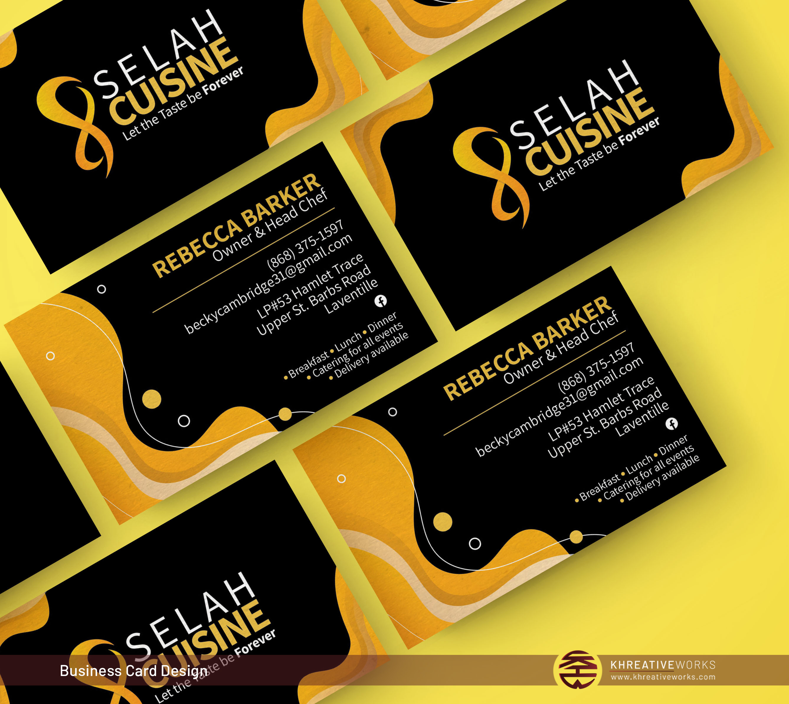 Business Cards for Selah Cuisine