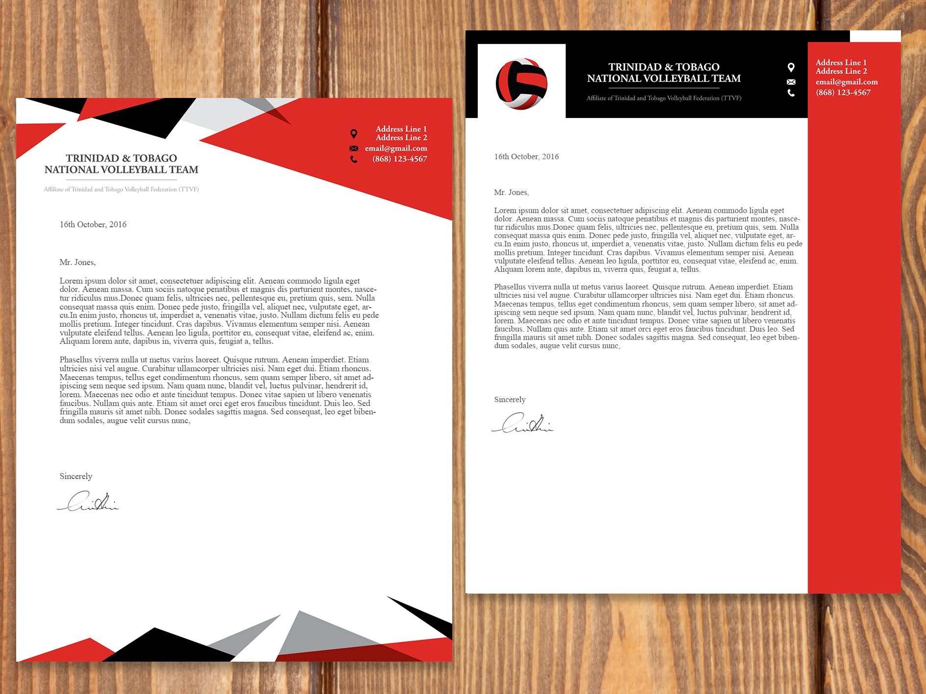 T&T Volleyball Team Letterhead Design