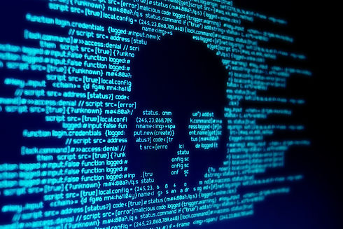 Computer code on a screen with a skull r
