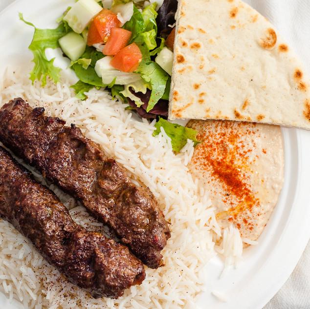 Beef Kofta Kabob Plate