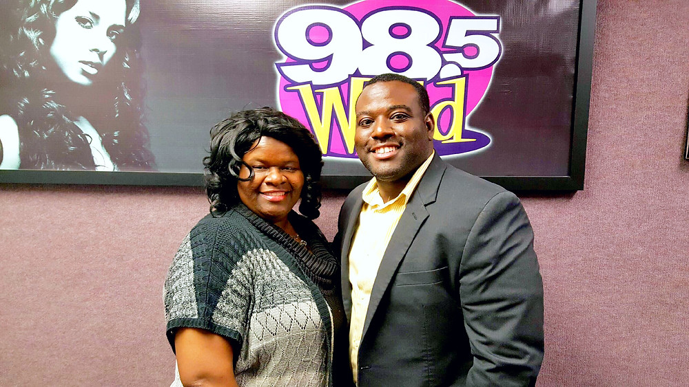 Lisa Phillips and Brandon Armant at WYLD - FM 98 iheart radio station.