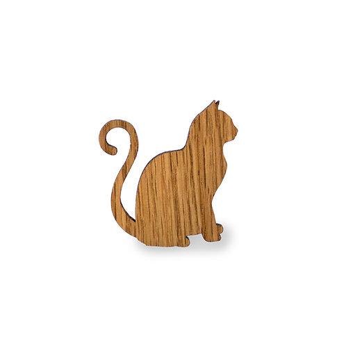 Magnetpin Eiche Katze