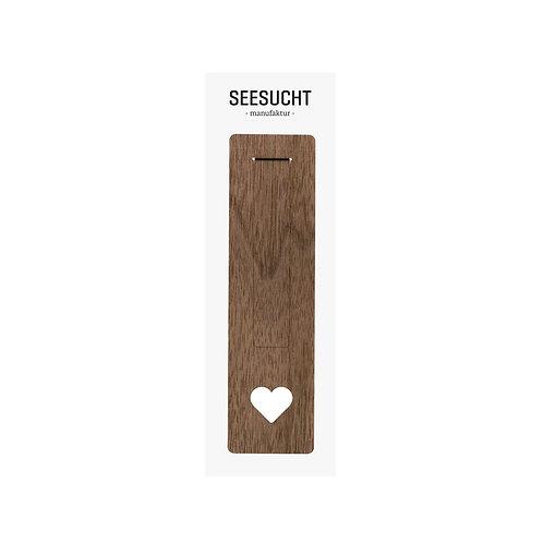 Lesezeichen Holz Herz