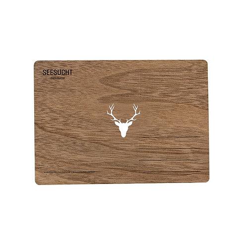 Holzpostkarte Hirsch