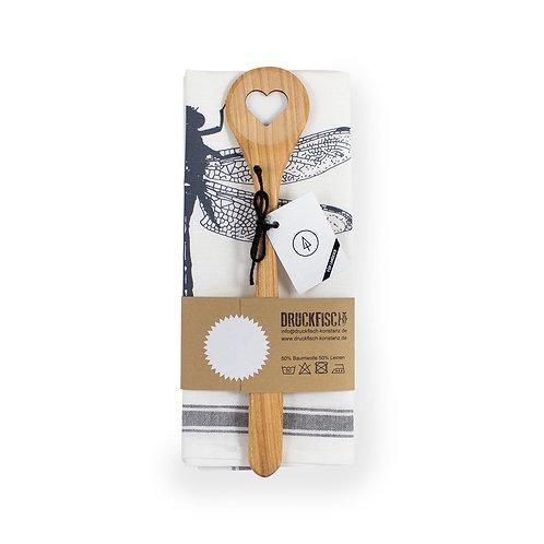 Geschenkset Geschirrtuch Libelle + Kochlöffel Herz