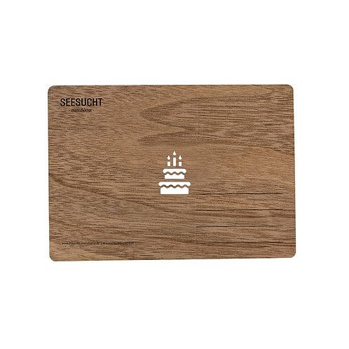 Holzpostkarte Torte