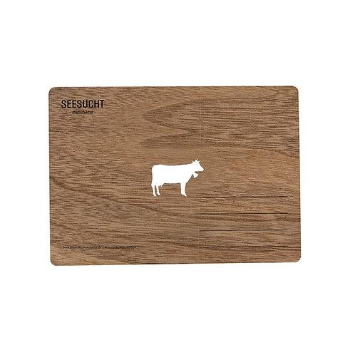 Holzpostkarte Kuh