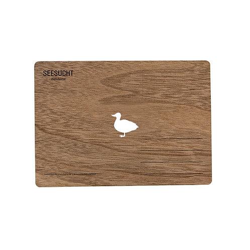 Holzpostkarte Ente