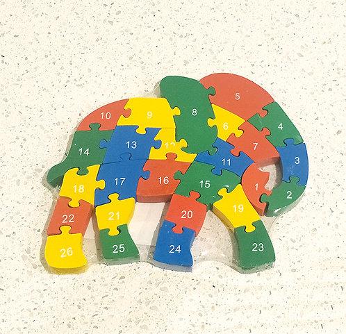 Wooden Elephant Alphabets & Numbers Jigsaw.