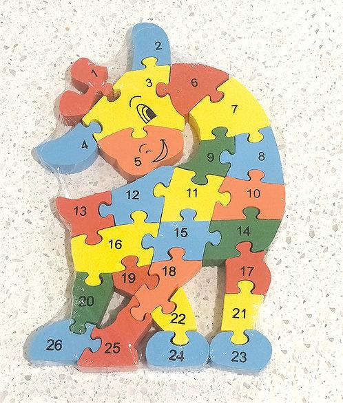 Wooden Giraffe Alphabets & Numbers Jigsaw.