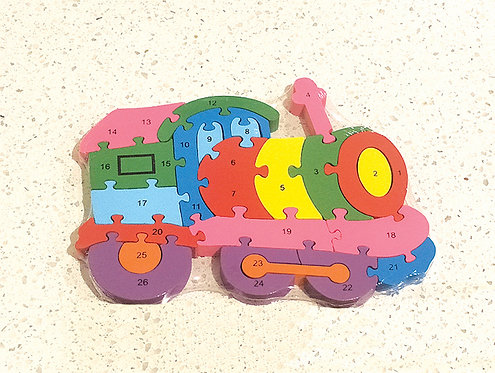 Wooden Train Alphabets & Numbers Jigsaw