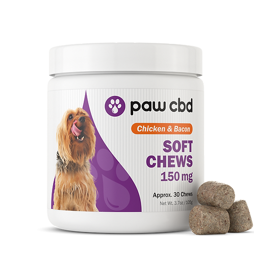 Pet CBD Soft Chews for Dogs - Chicken & Bacon - 150 mg - 30 Count