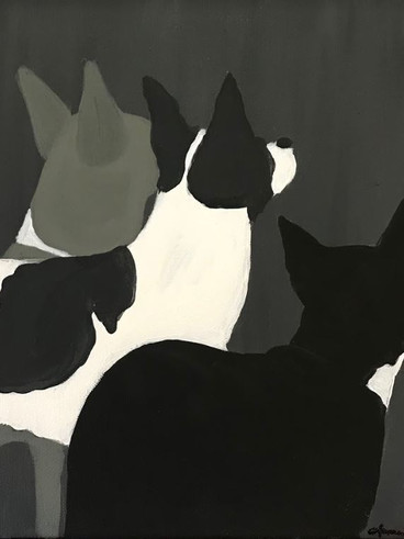 Silhouette Pet Portrait, Acylic, 2018