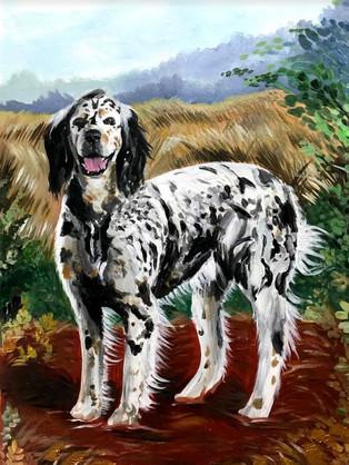 Hunting Dog Portrait, 2018, Acrylic