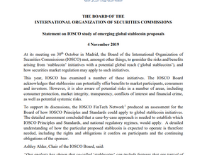 IOSCO publishes statement on study of  emerging global stablecoin proposals