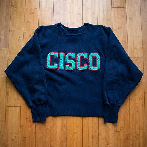 90s CISCO Cropped Champion Reverse Weave Crewneck (M)