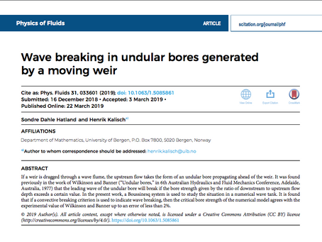 """Wave breaking in undular bores created by a moving weir"" published in Physics of Fluids"
