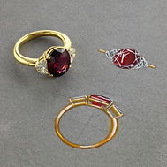 Bespoke Oval Garnet and Diamond Ring