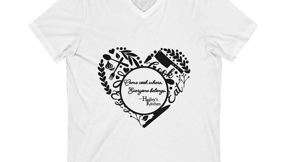 "Heart- ""Come cook where..""  Logo' Unisex Jersey Short Sleeve V-Neck Tee"