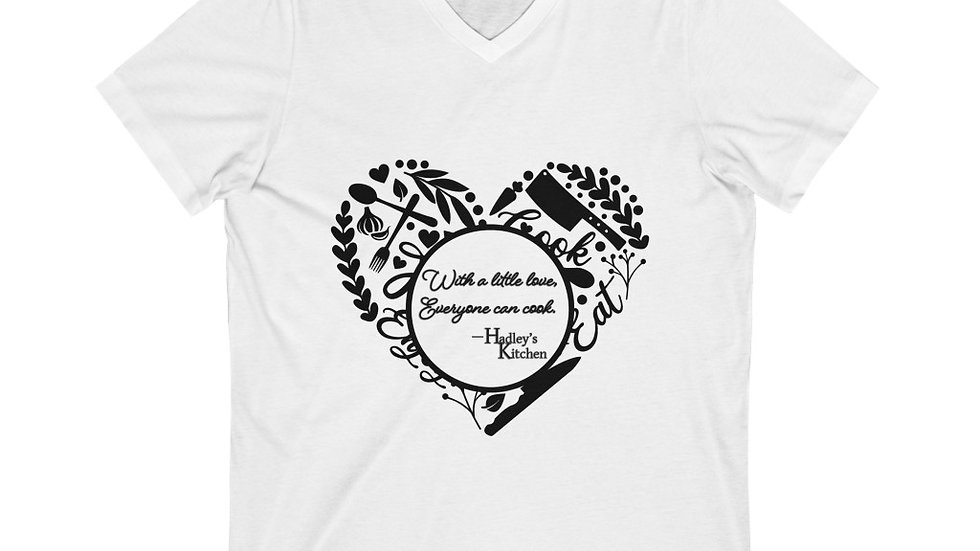 "Heart- ""With a little love..""  Logo' Unisex Jersey Short Sleeve V-Neck Tee"