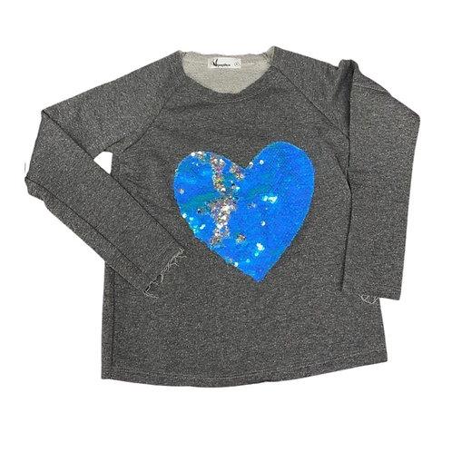 Moletinho coração azul paetê