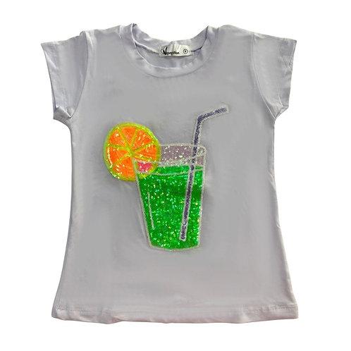 Camiseta limonada paetê