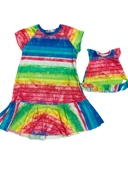Vestido estampado tecido leve listras coloridas