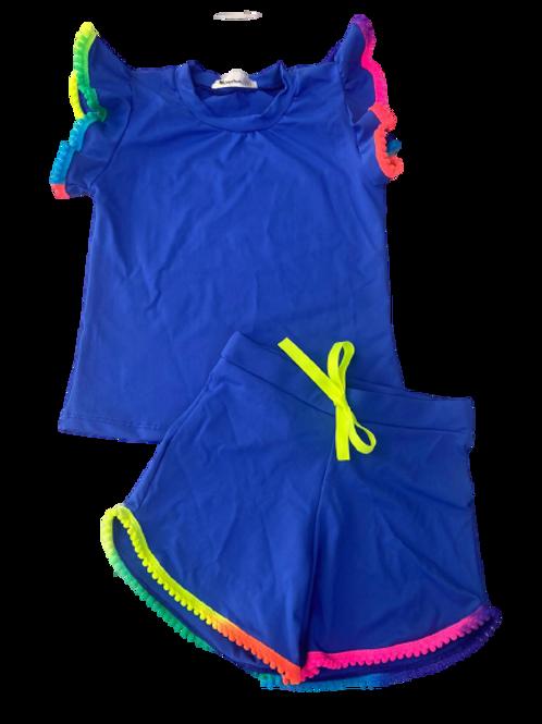 Conjunto Shorts e Blusa de Pompom Azul