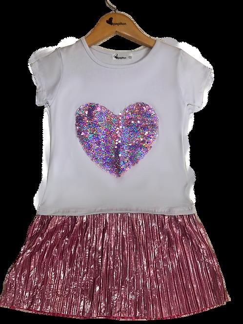 Vestido plissado coração branco com rosa
