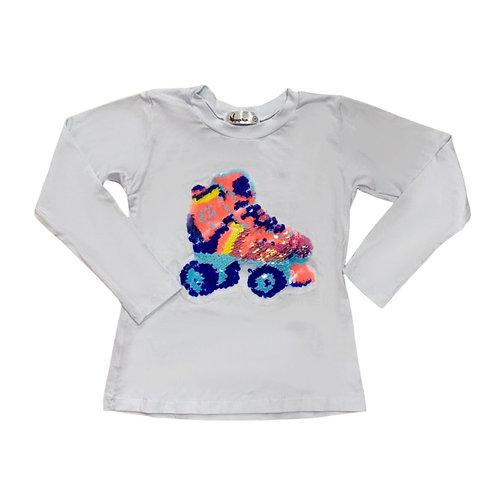 Camiseta manga longa patins paetê