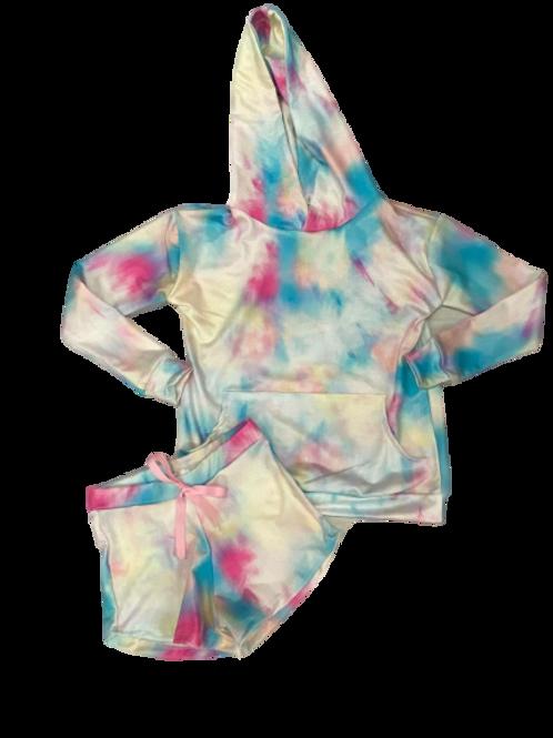 Conjunto tie dye blusa com capuz e shorts