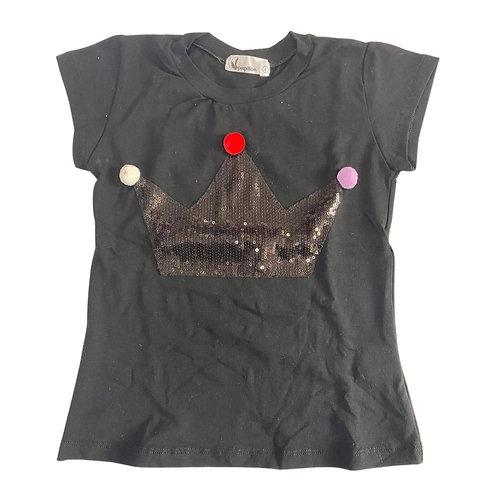 Camiseta coroa lantejoulas e pompons preta