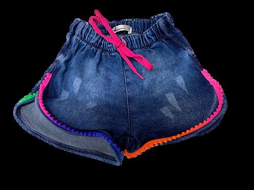 Shorts Infantil Jeans com Pompom