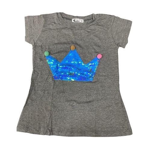 Camiseta coroa lantejoulas e pompons mescla coroa azul
