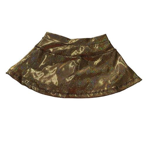 Shorts saia dourado brilho